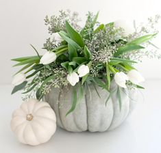 Halloween / thanksgiving center piece - pumpkin with tulips