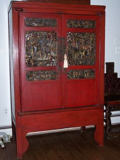 Chinese Antique Red Armoire - Beautifully Carved Panels
