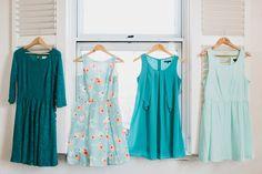 mismatched teal & aqua bridesmaid dresses
