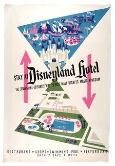 disneyland hotel disney park, vintage disneyland, disneyland hotel, disneyland poster, vintag disneyland, hotel poster, disney poster, posters, hotels
