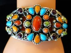KATHLEEN-CHAVEZ-CUFF-BRACELET-NAVAJO-TURQUOISE-CORAL-SPINY-OYSTER-STAMPING-925