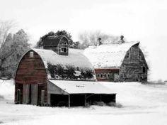 barn with snow