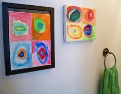 Kandinsky-inspired wall art that kids can make!