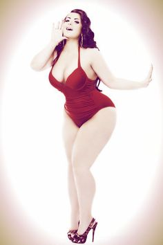 Layla, red swimsuit #pinup #bbw #curvy #fullfigured #plussize #thick #beautiful #sexy #fashionista #style