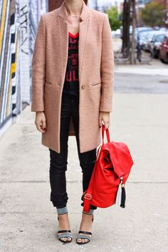 Pops of color with an all black look {Coat & Bag from @Marshalls}
