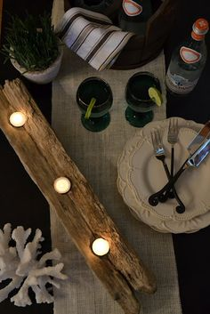 the poor sophisticate: Driftwood Candle Holder Tutorial DIY