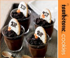 pudding cup tombstone treats