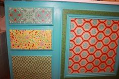 Fabric covered cabinets! Ah!