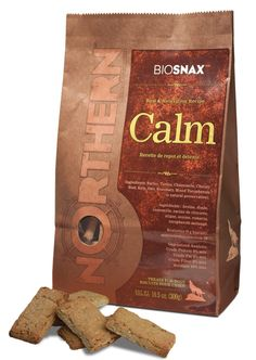 """Helping your dog find that """"Zen"""". These treats promote a peaceful state of rest and relaxation for your dog, and let's face it, for you too!    This aromatic treat is made with chamomile to soothe and relax. Chamomile has naturally occurring flavonoids which aid in reducing anxiety.  Additionally, tryptophan, an amino acid commonly found in turkey calms the senses and evokes a peaceful state. Each biscuit is slowly baked with a  chicory root base to aid digestion."""