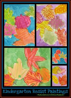 Fall Leaf Paintings with Crayon Resist Drawings (Fall RoundUP via RainbowsWithinReach)