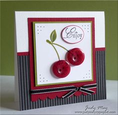 Cherries and pin stripes card