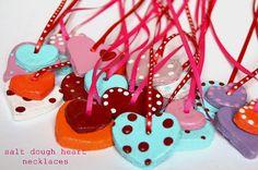 amazing mae: salt dough valentine heart necklaces craft kids, valentine day crafts, dough recipes, heart shapes, dough valentin, salt dough, craft ideas, kid crafts, heart necklac
