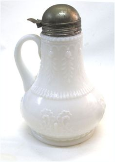 Victorian Milk Glass Syrup Pitcher Curleques Design Metal top