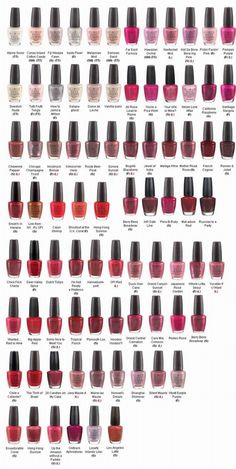 OPI Nail Polish (Most Popular Colors Chart)