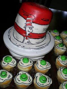 Dr. Suess cake with Green Eggs cupcakes