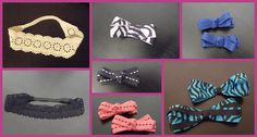 Scrap crochet lace turned into headbands and cute little ribbon bow clippies.
