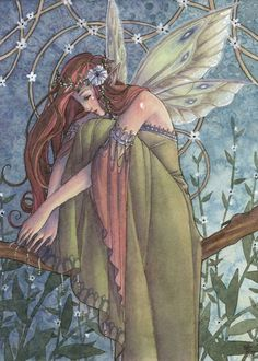Fairy Art Print Celtic Irish Fairy with Flowers. $12.00, via Etsy.  See the artists website here:  http://www.etsy.com/shop/sarambutcher?ref=seller_info