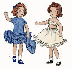 Butterick 8799 Doll Clothes Pattern for Ginny, Muffie, Gigi, Mary Lou By Vogue. for 12 inch dolls a 1940s pattern.