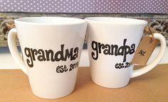 New GRANDMA or GRANDPA Mugs, Est. Year, Cute Pregnancy Announcement on Etsy, $11.95