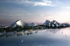Green Architecture: Zira Island Masterplan (on the Caspian See, Baku, Azerbaijan) - zero energy resort that uses wind, water, and solar energy