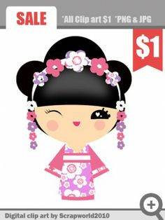 kokeshi_clipart_pink_flowers
