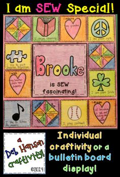 Are you looking for a back to school activity that will build a the concept of classroom community during those first weeks of school?  This project highlights how each student in the classroom is a unique individual, but put all together, you create one large community of caring companions placed together for this year!   http://www.teacherspayteachers.com/Product/Back-to-School-Craftivity-or-Bulletin-Board-I-am-SEW-Special-1266502