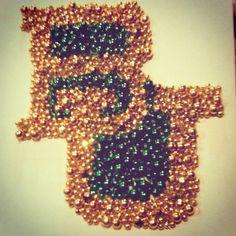 #Baylor interlocking BU symbol -- made of mardi gras beads.