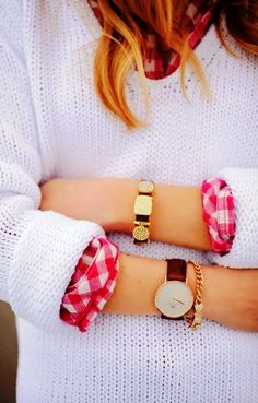 Gorgeous street style with white loose sweater, plaid shirt, watch, bling bracelet with cute bow. | Gorgeous Street Styles To Copy Start