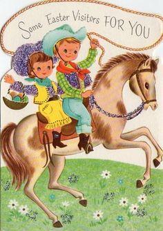 Vintage Western Easter Card