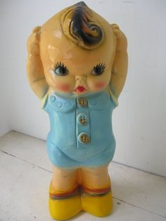 1940's Chalkware Kewpie  Doll Bank