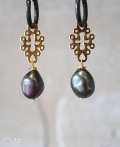 Barroque pearl earrings in medieval vermeil design by ATELIERGabyMarcos, $59.00