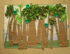 kindergarten recycle art | Mixed Media Earth Day Print | MPM School Supplies Blog collag, paint, tree art, earth day, tree crafts, mixed media art, rainforest, preschool, art projects