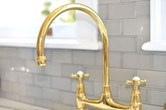 gold goose neck perrin & rowe faucet