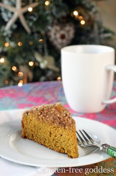 Gluten free pumpkin coffee cake with streusel crumb topping