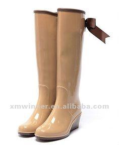 elegante color beige de cuña botas de lluvia para las mujeres-Botas-Identificación del producto:624732062-spanish.alibaba.com