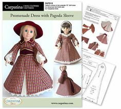 "1850s Pagoda Sleeve 18"" Doll Dress Sewing Pattern Fit Carpatina American Girl 