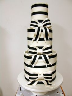 Black and White Stripe 3 Tier Cake
