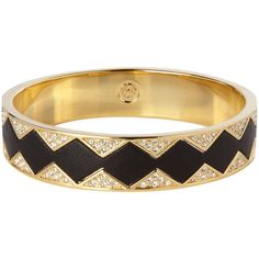 House Of Harlow Gold Crystal Pave Bangle - Black Leather ($160) ❤ liked on Polyvore