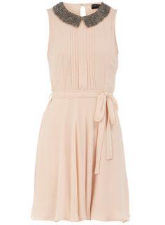 blush embellished collar dress / dorothy perkins