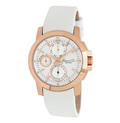 Rose Gold Watch with White Leather Strap - Kenneth Cole