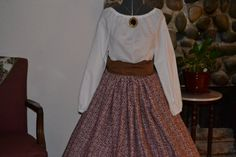 Civil War Pioneer Colonial Day Dress Skirt Blouse Bonnet and Sash Ready to Ship