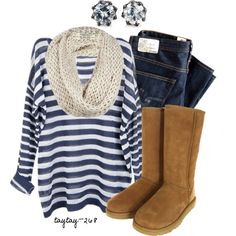 Navy Stripes, Scarf and Uggs :)