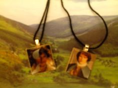 "Sam ""Jamie"" tile necklaces my friend made me since I love Outlander! Pic is a bit blurry so they look better in person. Love them!!! :-) @maneerae"