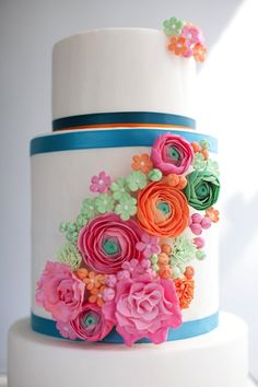 tiered cakes, flower cakes, colorful cakes, flower decorations, fondant flowers, colorful weddings, white wedding cakes, sugar flowers, sweet cakes