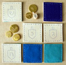 Hanukkah coasters - great project for an older child / early sewer and felt is so forgiving and great material to work with
