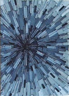 Denim Sunburst Textile Art - Recycles Jeans