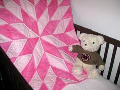 Startime Pink a handmade baby crib quilt
