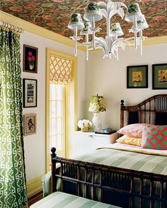 wallpapered ceiling - eclectic awesomeness