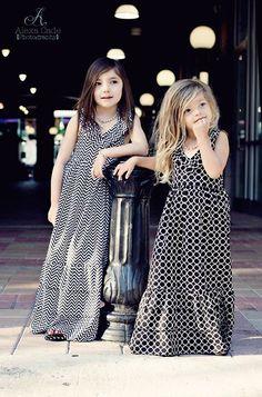 Black Chevon Print Maxi Dress