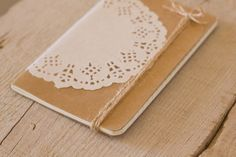 small altered notebook with white doily journal, white doili, creat, diy gift, alter notebook